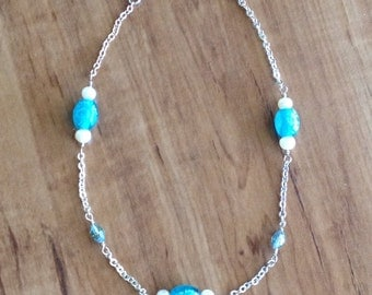 Blue Glass, Crystal, Pearl and Silver Chain Ankle Bracelet