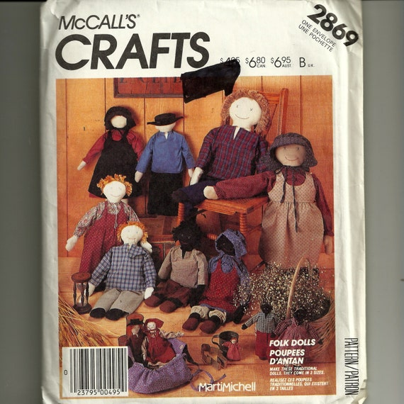 Vintage McCall's Doll and Clothes Pattern 2869