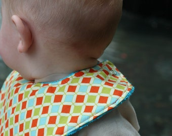 Orange and Teal Diamonds baby bib