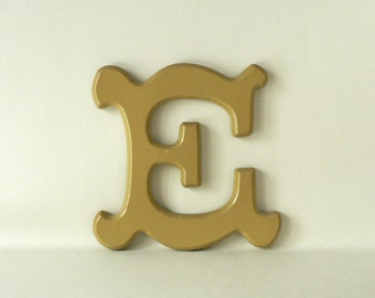 vintage wood decorative letter e for wall or shelf. Black Bedroom Furniture Sets. Home Design Ideas