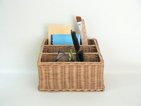 Vintage Wicker Desk Top Divided File Organizer Basket