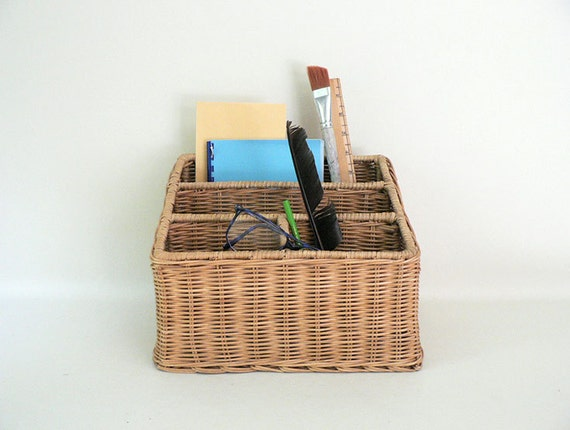 Wicker Basket With Sections : Vintage wicker desk top divided file organizer basket