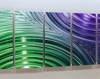 Modern Multi Panel Wall Art in Purple & Green, Decorative Abstract Metal Wall Art Sculpture - Mardi Gras Synchronicity by Artist Jon Allen