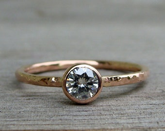 Delicate Moissanite and Recycled 14k Rose Gold Engagement, Wedding, or Everyday Ring, Stackable, Affordable, Eco-Friendly, Made to Order