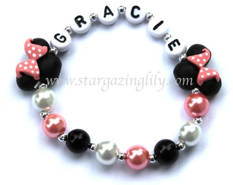 Light Pink Mini Mouse inspired Jewelry Hypoallergenic Personalized Name Bracelet Toddler Kids black mini mouse ears Pink Polka Dot Bow