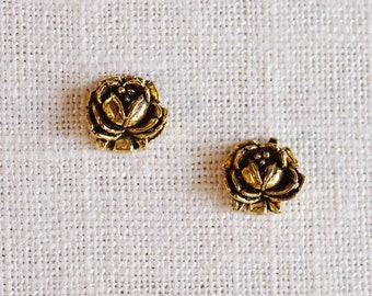 antiqued rose stud earrings . gold rose earrings . simple rosebud earrings . antiqued gold flower studs . flower stud earrings // 2ROSE