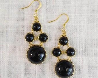 SALE . newport . jet // black bubble earrings . black statement earrings . black dot earrings