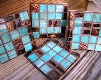 Handmade Mosaic COASTERS turquoise Rich chocolate browns colors metallic italian glass tile