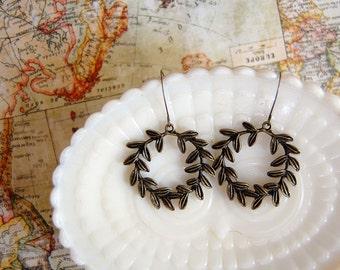 Antique brass laurel wreath earrings- woodland goddess- rustic charm