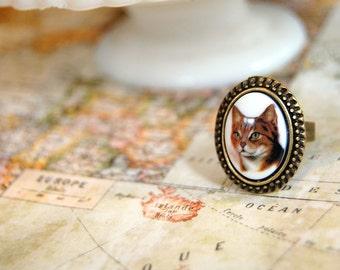 orange kitty cat vintage ring- antique brass- adjustable- cat lady