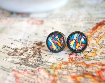 antique brass framed post earrings- stained glass mosaic style- vintage inspired