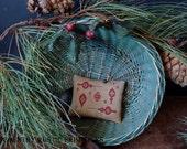 Primitive Ornaments For Christmas Redwork Cupboard Keep Cross Stitch E Pattern PDF