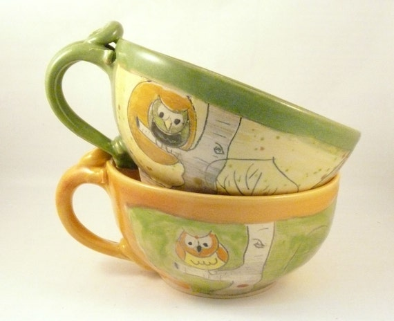 Two oversized mug soup mugs, large latte cups teacups / bowl with handle, pottery for soup cereal ice cream chai tea latte