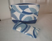 Blue Swirls Cosmetic Case and Matching Eyeglass Case