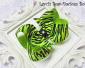 Neon Lime Zebra Boutique Bow, sports bows, extra large cheer bows, team bows, dance team, birthday, international shipping, neon zebra bow