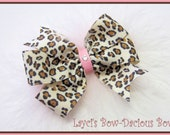 Leopard Pinwheel Bow with Pink Marabou, toddler girl bow, pink cheetah, pink leopard, hair bow, small, medium, large