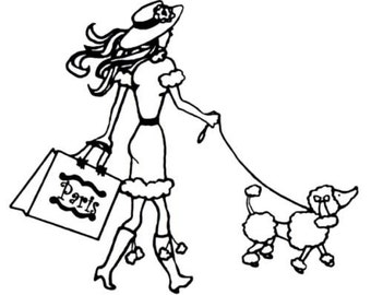 Paris Shopper, lady with poodle unmounted rubber stamp, shopping, dog walker, French, Sweet Grass Stamps #22