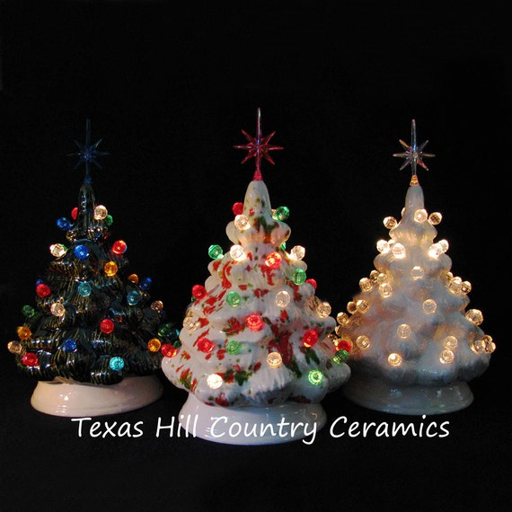 Miniature Ceramic Christmas Trees Set Of 3 Tabletop Electric