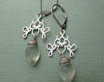 lime drops - prehnite and solid sterling silver charm drop earrings