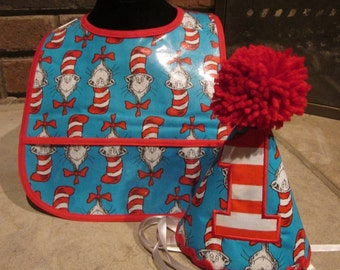 FIRST BIRTHDAY Dr. Seuss Birthday Hat and Bib