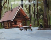 Art Print Cabin Woods Country Camping - Small Cabin in the Woods  by David Lloyd