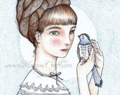 "Victorian girl with bird art print, ""Agnes and Pip"""