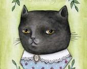 "SALE MarmeeCraft black cat art print, ""Dear Miss Puss"" SALE"