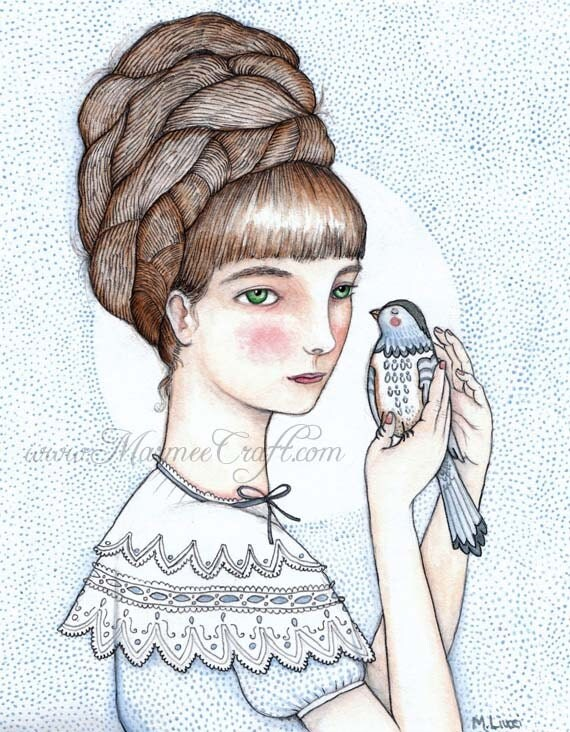 """Victorian girl with bird art print, """"Agnes and Pip"""""""