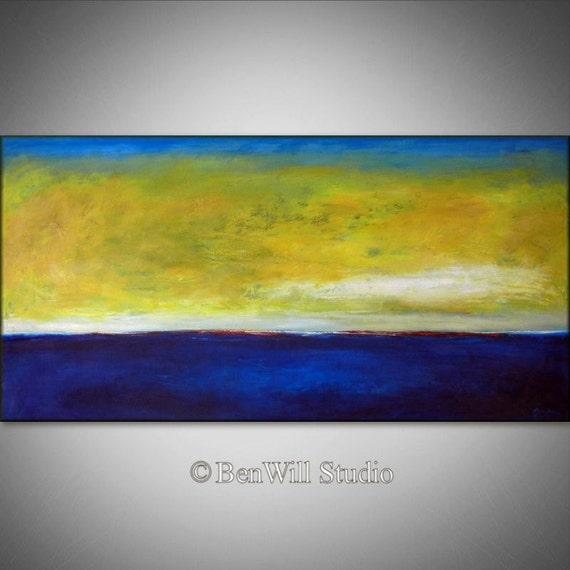 ORIGINAL Abstract Painting Blue Yellow LARGE Modern Wall Art Oil Painting - HORIZON 48x24 Fine Art by BenWill