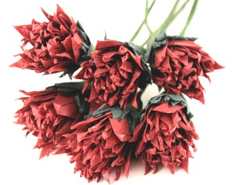 Burgundy Wine Carnations made from Mulberry Tissue Origami Cranes, 6 Stems