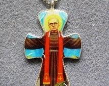St. Maxilimilian Kolbe Handmade Catholic Resin Crucifix Necklace Pendant MK3