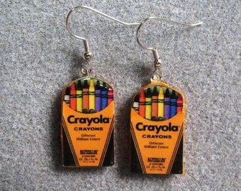 Crayola Crayons Retro Kitsch Dangle Polymer Clay Earrings Hypo Allergenic Nickle-Free