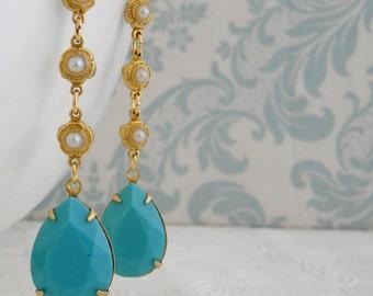 Turquoise Pearl Vintage Art Deco Rhinestone Earrings