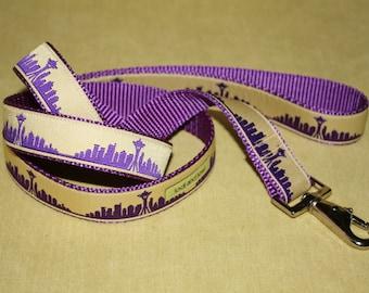 Seattle Skyline Leash Purple with Gold
