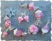 Frosted Winter Garden - Artisan Lampwork Bead Bracelet, Pendant And Matching Earrings, Beaded