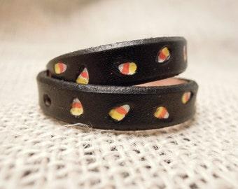 Cute Cat Collar - Candy Corn - Cat Collar - Leather