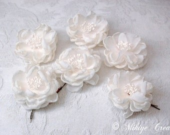 Bridesmaid Hair Flowers, Wedding Accessories, Flower Girl Hair Clips,  Bridal Hair Flower Bobby Pins - Small Sarah 6 Piece Set