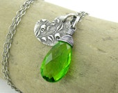 Peridot Necklace Silver Charm Necklace Heart Necklace Green Necklace Handmade Jewelry Charm Jewelry Bohemian Jewelry Gift for Her - Solo