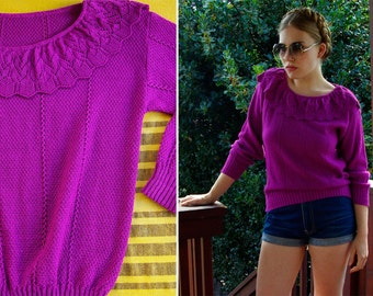 HARLEQUIN 1970's 80's Vintage Purple Knit Sweater with Detailed Collar size Medium