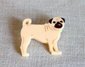 Pug brooch dog plastic laser cut