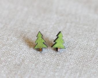 Tree earrings - tree studs - tree jewellery - laser cut earrings - cute earrings - green earrings - wood tree earrings - finest imaginary