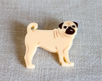 Pug brooch – pug gift – gift for dog lover – dog jewellery – pug jewelry – pug badge – pug-owner gift
