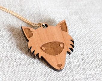 Fox necklace - fox jewellery - fox gift - gift for fox lover - fox face necklace - fox head necklace - fox jewelry - wood fox jewellery