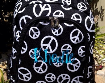 Black and White Peace Sign Backpack Includes Monogrammed Name or Initials of Your Choice