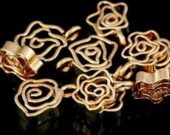 KZ-224 thai karen hill tribe handmade silver 4 rose gold vermeil flower charm