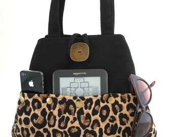 Leopard tote bag, multi pocket bag , diaper bag, tapestry purse, black handbag,  shoulder bag, ready to ship