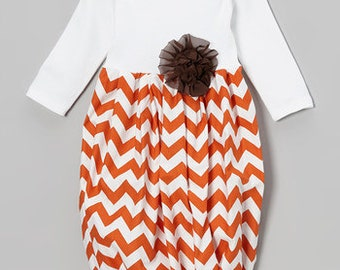 baby girl gown, going home outfit, infant gown, newborn gown, layette, baby gown, orange, brown, fall baby girl, baby girl shower gift set