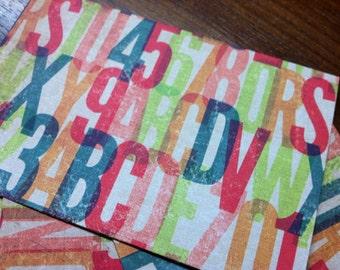 set of 6 postcards typeface font