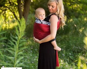 Sewfunky Designer Adjustable Baby Sling Damask on Flame Red