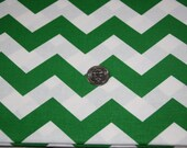 """Imperfect 7/8"""" wide CHEVRON - Marshall Dry Goods Fabric - Kelly Green and White"""